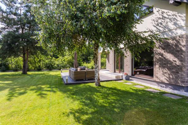 sunny garden ideal for summer barbecues - skuggig bildbanksfoton och bilder