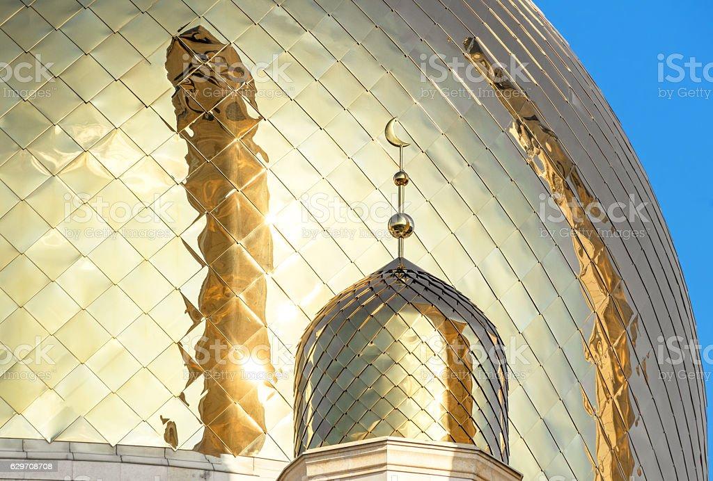 Sunny Golden Dome Mosque Reflection Minarets stock photo