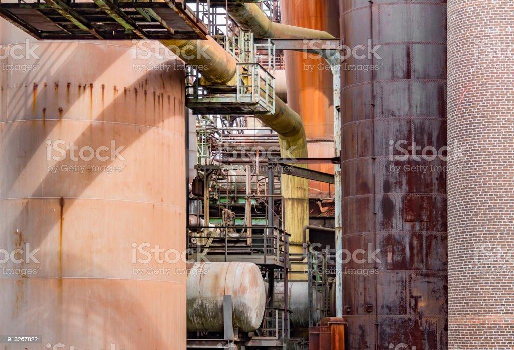 sunny industrial scenery stock photo
