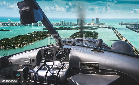 Sunny island aerial view in Miami