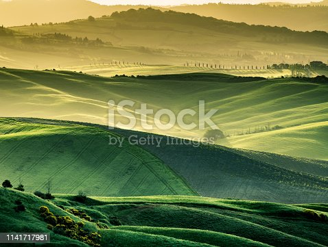 Sunny landscape from Val d'Orcia