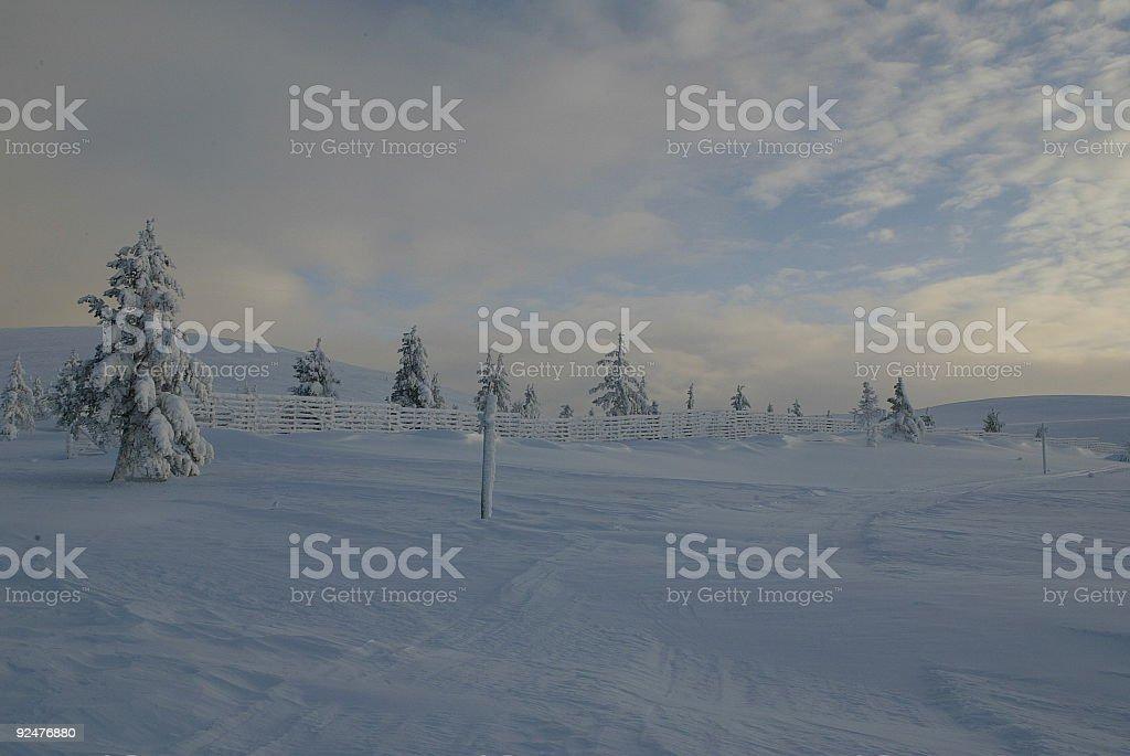 Sunny Landscape Winter Finland Lapland royalty-free stock photo