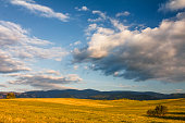 Sunny landscape with mountains and blue sky with clouds in the background.