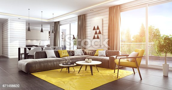 istock Sunny luxury living room interior with modern yellow and brown furniture 671458620