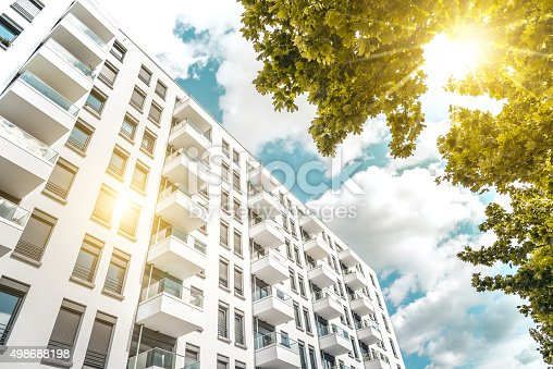 istock sunny  modern cubic white residential houses in berlin 498688198