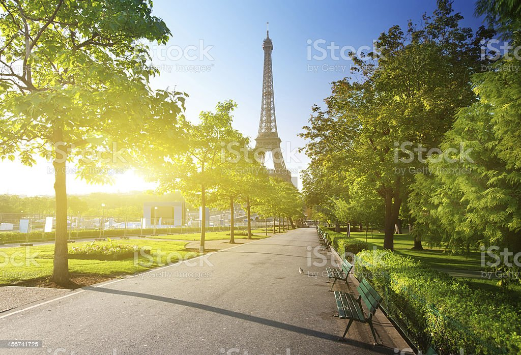 sunny morning and Eiffel Tower, Paris, France stock photo