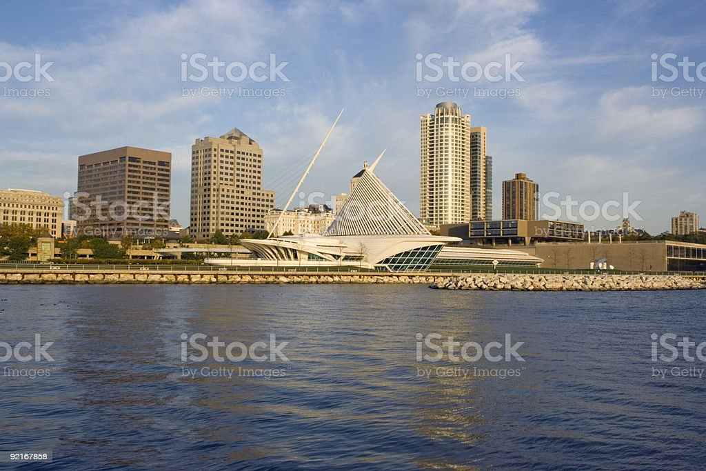Sunny morning city view from waterline in Milwaukee stock photo