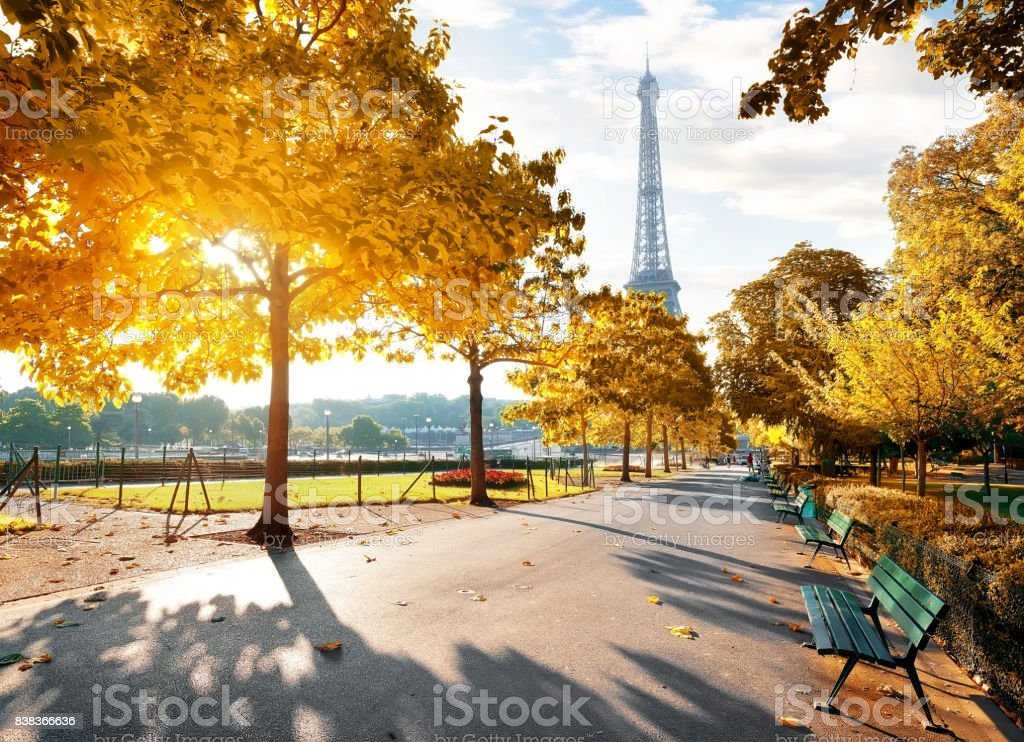Sunny morning in Paris in autumn stock photo