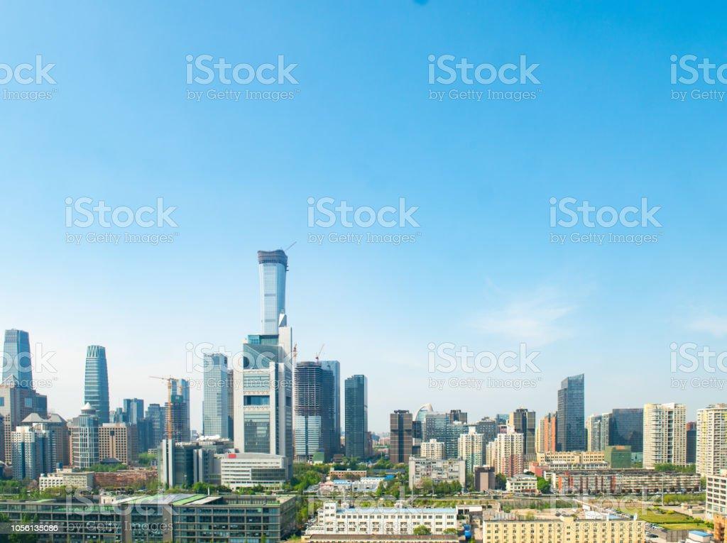 Sunny morning in the modern city of Beijing stock photo