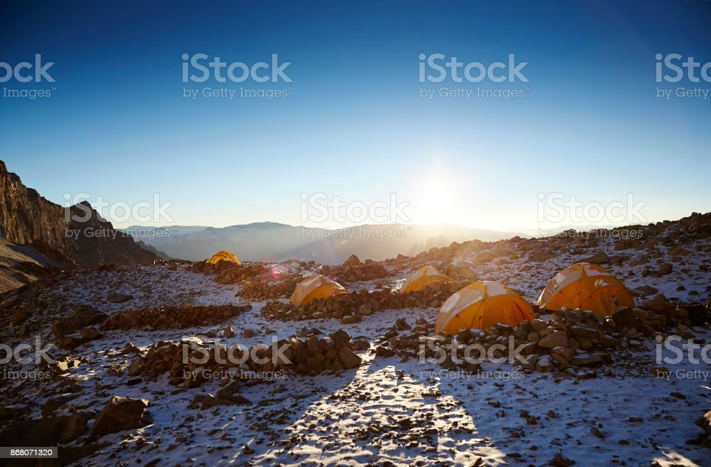 Sunny Mountain Basecamp Aconcagua Argentina Expedition stock photo