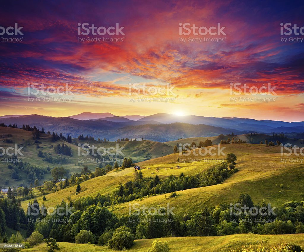 sunny mountain landscape stock photo