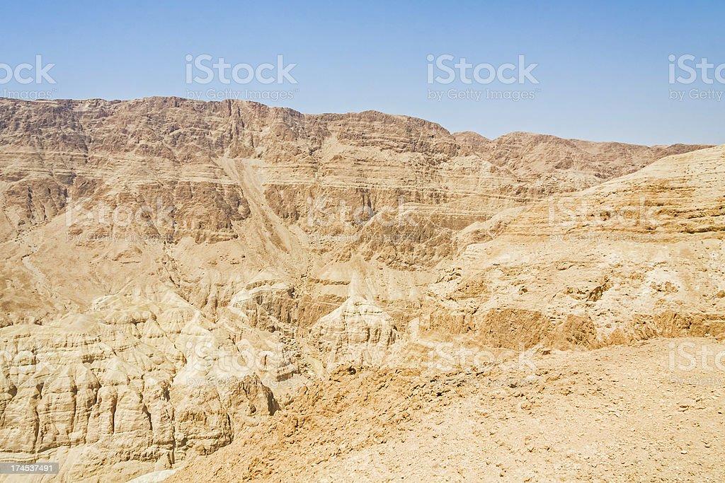 Sunny mountain ridge in Judean desert royalty-free stock photo