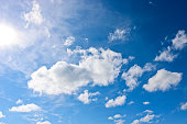 Sunny natural background, blue sky with cirrus and cumulus clouds. The concept of travel, dreams, vacation, summer mood.