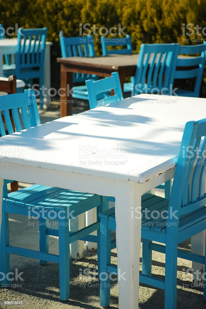 Sunny Outdoor Restaurant Fisherman's Place In Bodrum stock photo