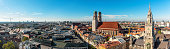 sunny panorama view over munich with Frauenkirche and Town Hall