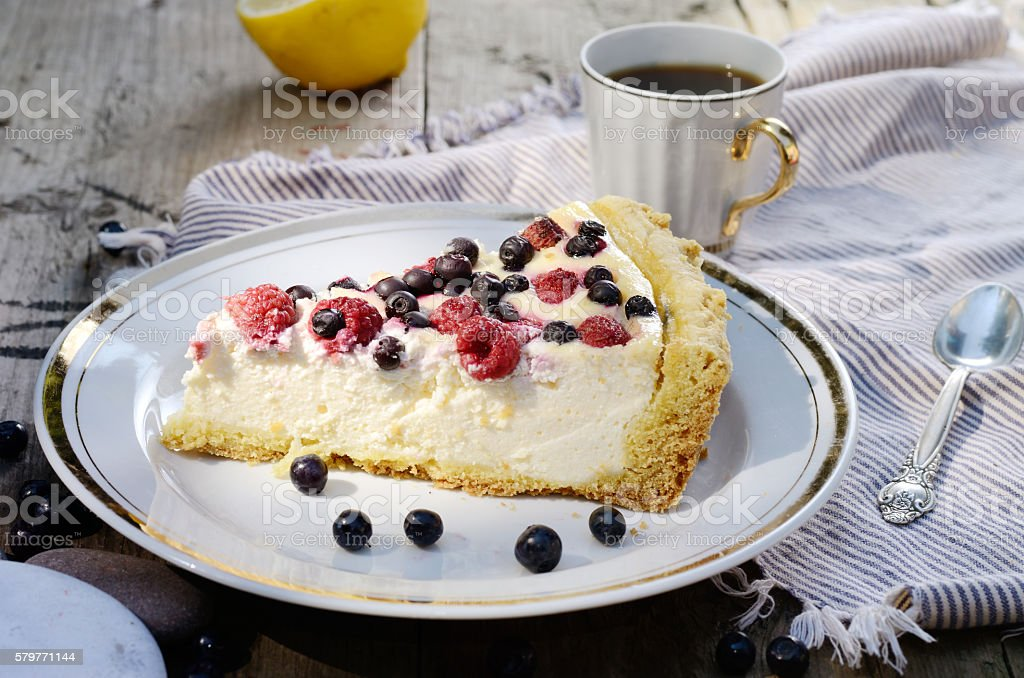 Sunny Photo with a morning breakfast in rustic style. Cheesecake stock photo