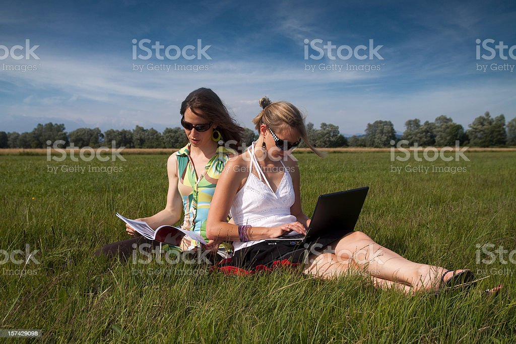 Sunny picture of attractive girls typing and working on laptop royalty-free stock photo