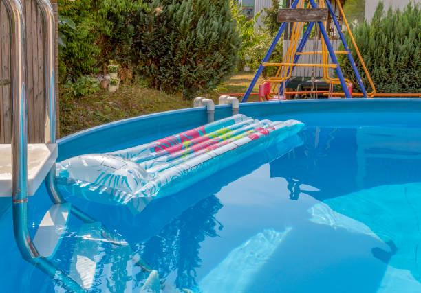 sunny pool scenery stock photo