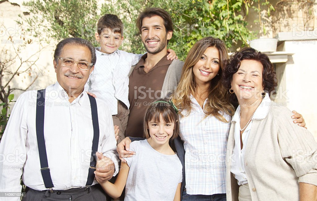 Sunny Portrait of Classic, Italian Family stock photo