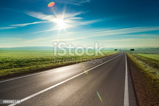Beautiful sunny road in the morning