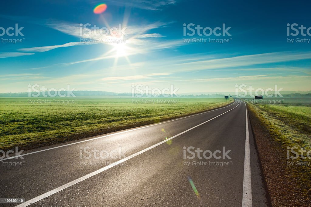 Sunny road stock photo