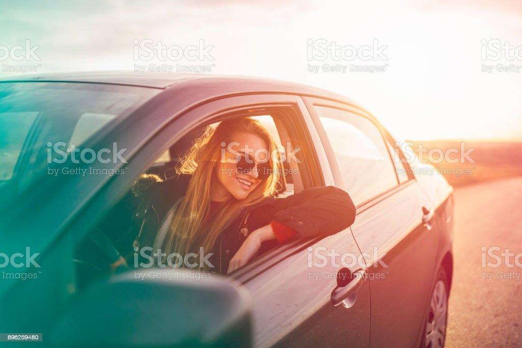 Sunny roadtrip stock photo