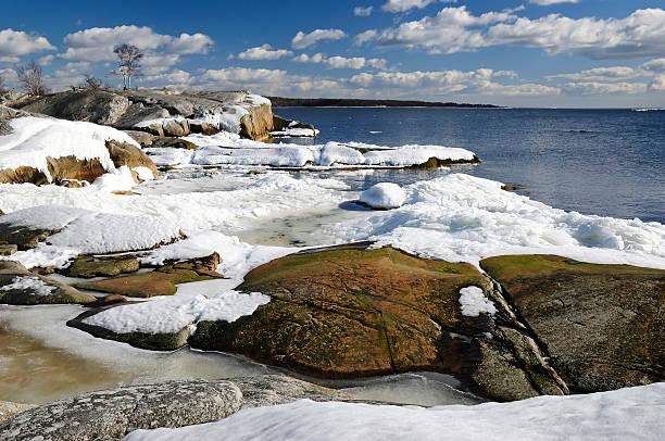 Sunny sea landscape in March stock photo