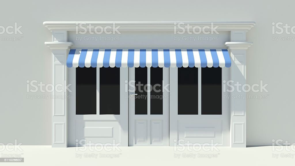 Sunny Shopfront with large windows White store facade stock photo