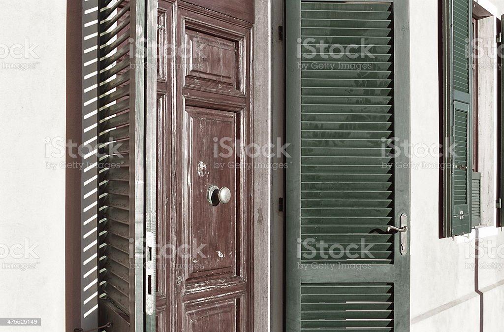 Sunny shutters (persiane) in Italy royalty-free stock photo