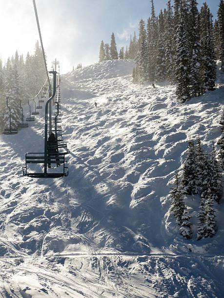 Sunny ski day, mogul field and chair lift