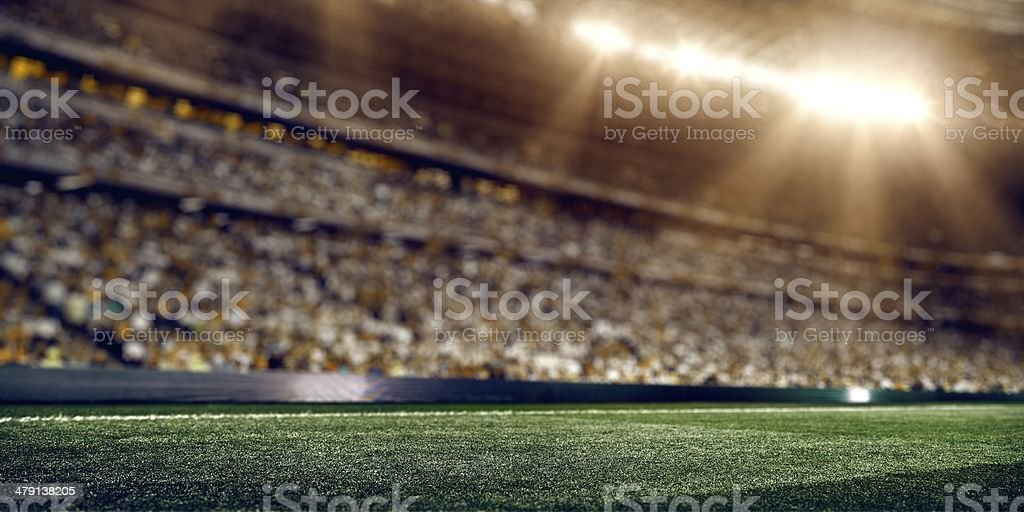 Sunny soccer stadium stock photo