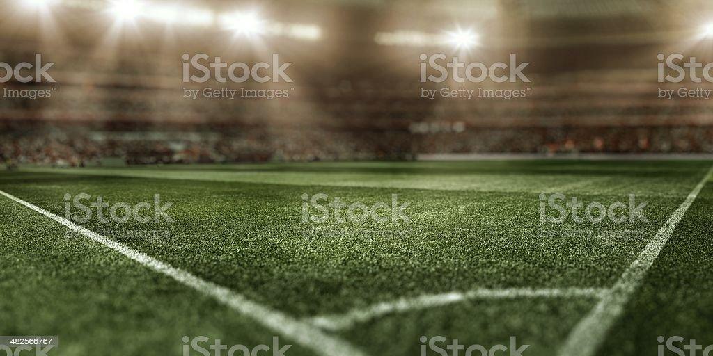 Sunny soccer stadium royalty-free stock photo