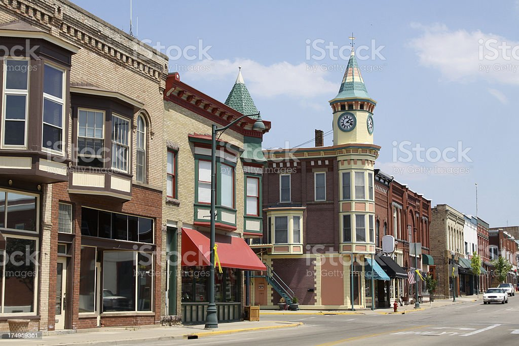 Sunny street and buildings in Berlin, Wisconsin stock photo