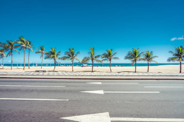 Sunny summer day with Palms on Ipanema Beach,  Rio de Janeiro, Brazil Sunny summer day with Palms on Ipanema Beach,  Rio de Janeiro, Brazil lagoa rio de janeiro stock pictures, royalty-free photos & images