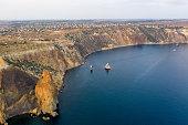 Sunny summer morning. Crimea. Nice sea landscape