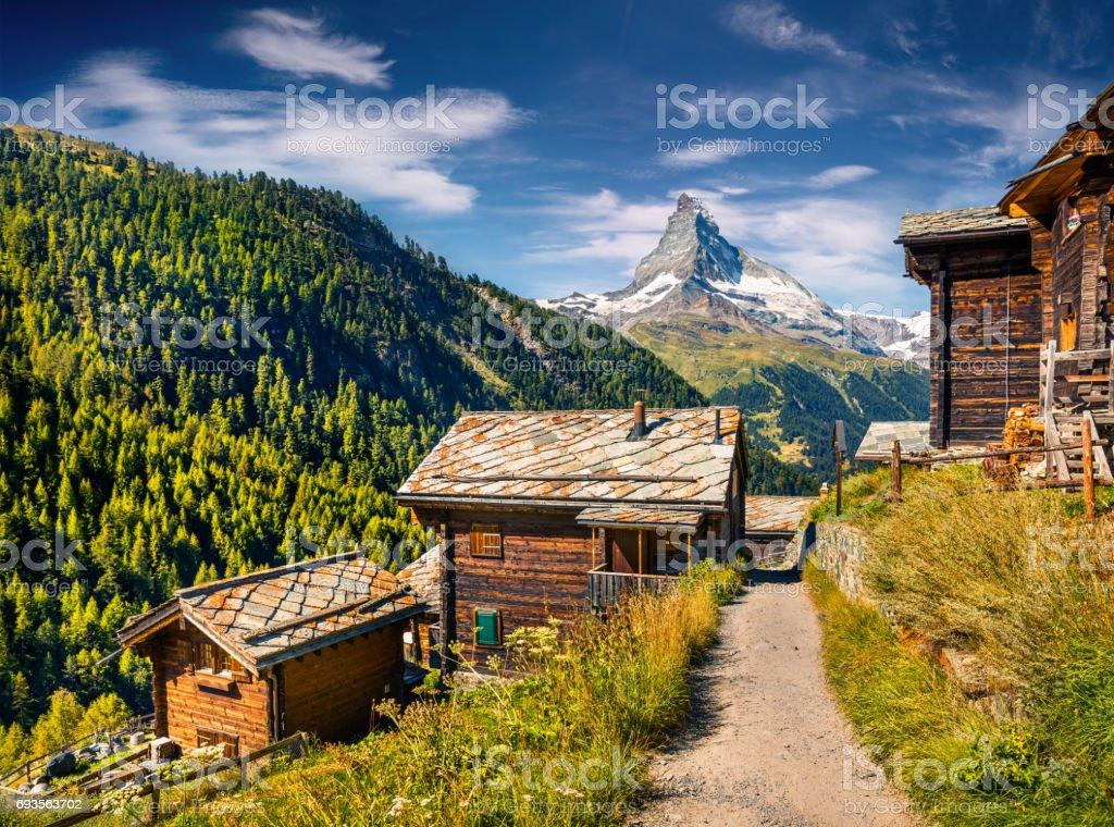 Sunny summer morning in Zermatt village stock photo