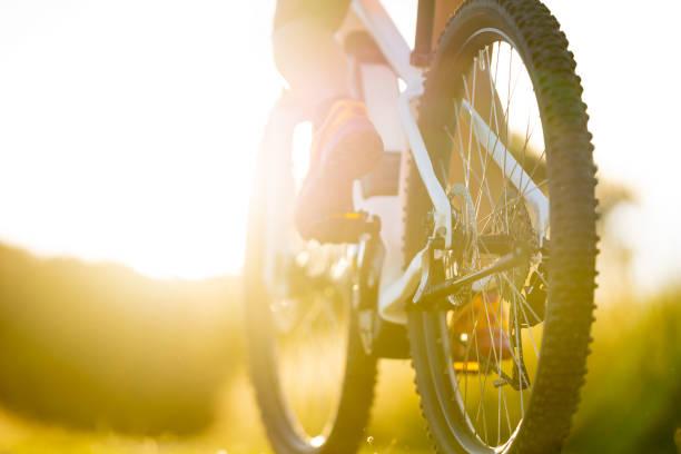 sonnige sommer mountain bike detail - elektrorad stock-fotos und bilder