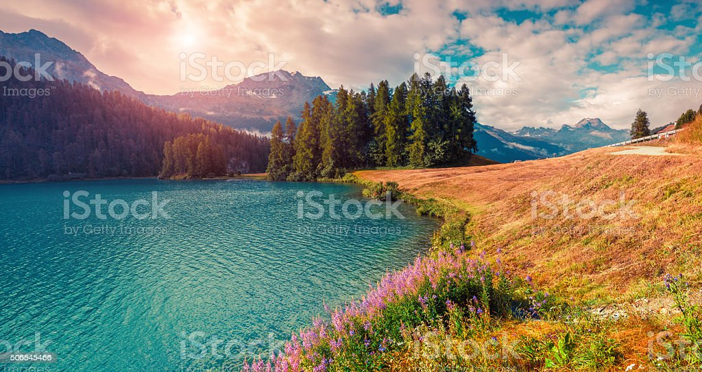 Sunny summer panorama of the Champferersee lake. stock photo
