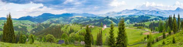 화창한 여름 파노라마 - 카르파티아 산맥 뉴스 사진 이미지