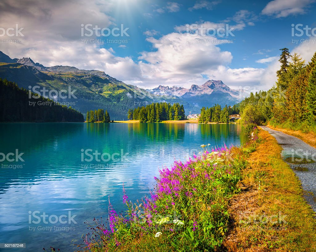 Sunny summer scene on the Champferersee lake. stock photo