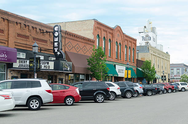 Sunny Summer's Day In Downtown Perham, United States stock photo