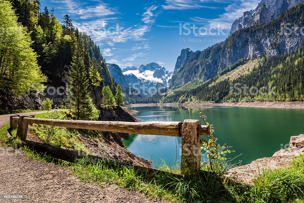 Sunny sunrise at Gosausee lake in Gosau, Alps, Austria stock photo