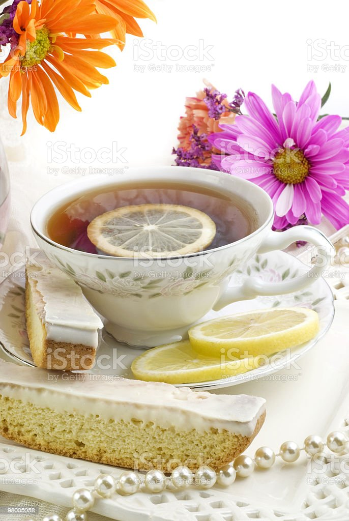 Sunny Tea Party with Lemon Biscotti royalty-free stock photo