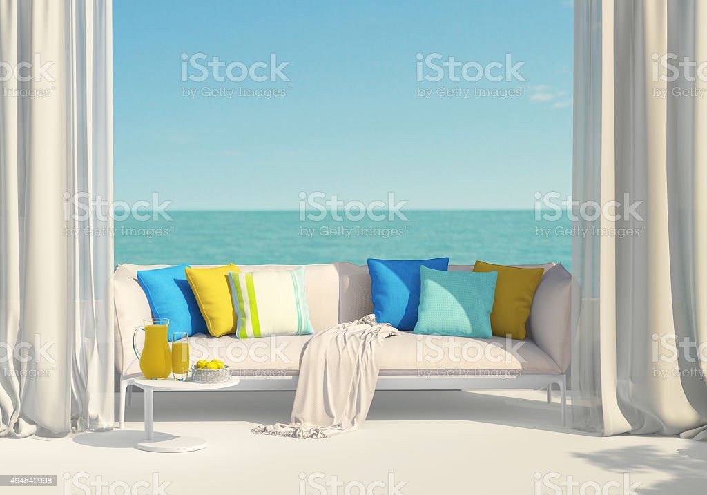 Sunny terrace overlooking the sea stock photo
