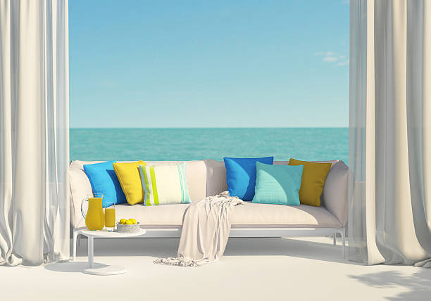 Sunny terrace overlooking the sea Sunny terrace, juice and lemons chaise longue stock pictures, royalty-free photos & images