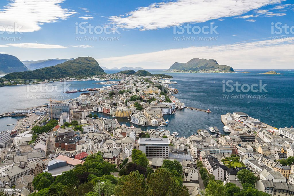Sunny view of Alesund from mountain Aksla stock photo