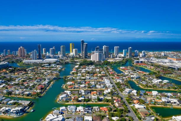 Sunny view of Broadbeach and the suburb of Broadbeach Waters on the Gold Coast stock photo