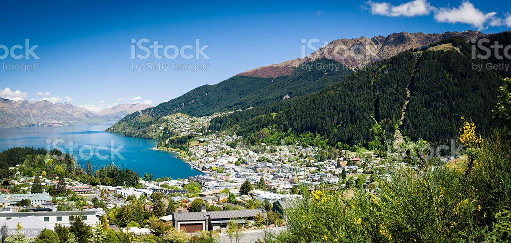 Sunny view of Queenstown on New Zealand's South Island stock photo