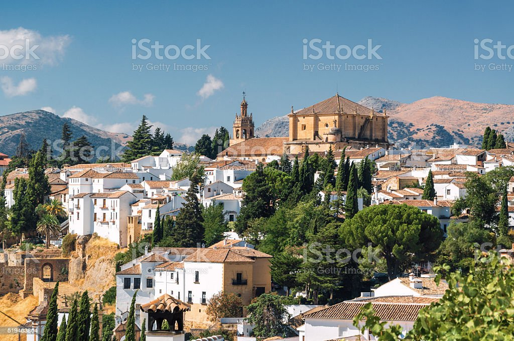 Sunny view of Ronda, Malaga province, Spain. stock photo