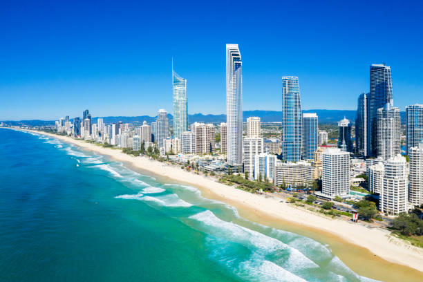 Sunny view of Surfers Paradise on the Gold Coast looking from the North stock photo